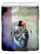 Woman In Silver Mask Duvet Cover