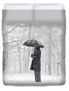 Woman In The Forest With An Umbrella Duvet Cover