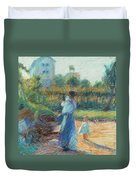 Woman In The Garden Duvet Cover