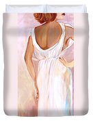 Woman In White Duvet Cover