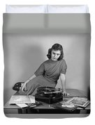 Woman Listening To Records Duvet Cover