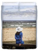 Woman On A Bench Duvet Cover
