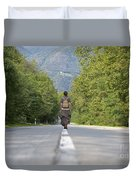 Woman On A Road Duvet Cover