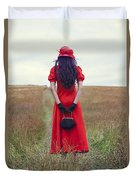 Woman On Field Duvet Cover