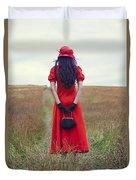 Woman On Field Duvet Cover by Joana Kruse