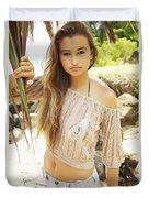 Woman On Hawaiian Beach Duvet Cover