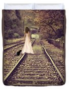 Woman On Railway Line Duvet Cover