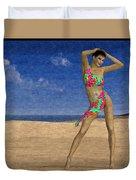Woman On The Beach... Duvet Cover