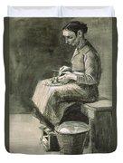 Woman Peeling Potatoes, 1882 Duvet Cover
