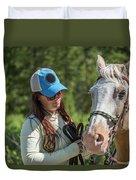 Woman Pets A Horse Duvet Cover