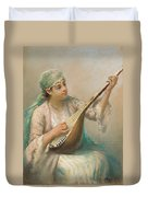 Woman Playing A String Instrument Duvet Cover