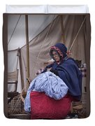 Woman Reenactor Sewing In A Civil War Camp Duvet Cover