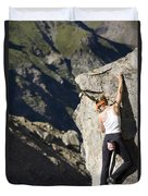 Woman Rock Climbing, India Duvet Cover
