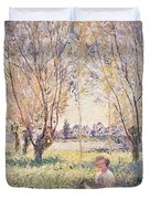 Woman Seated Under The Willows Duvet Cover