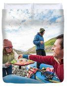 Woman Serving Appetizers, Alsek River Duvet Cover