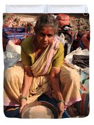 Woman Sifting In A Street Market India Duvet Cover