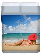 Woman Sitting On The Beach Duvet Cover
