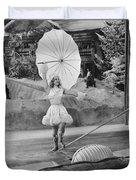 Woman Tightrope Walker Duvet Cover
