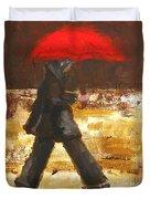 Woman Under A Red Umbrella Duvet Cover by Patricia Awapara