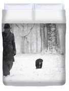 Woman Walking In The Snowy Forest Duvet Cover