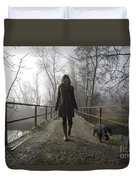 Woman Walking With Her Dog On A Bridge Duvet Cover