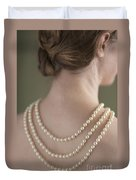 Woman Wearing A Pearl Necklace Duvet Cover