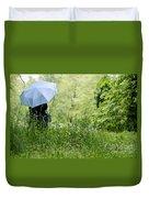 Woman With A Blue Umbrella Duvet Cover