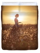 Woman With A Wicker Basket At Sunset Duvet Cover