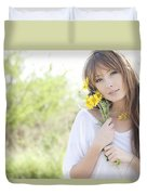 Woman With Flowers Duvet Cover