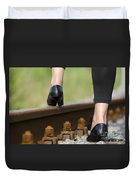 Woman With High Heels Shoes Duvet Cover