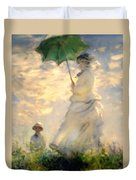 Woman With Parasol Dedication Duvet Cover
