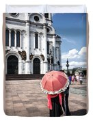 Woman With Umbrella - Moscow - Russia Duvet Cover