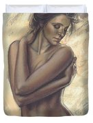 Woman With White Drape Crop Duvet Cover by Zorina Baldescu