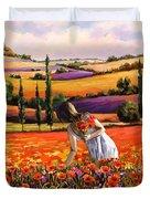 Women Gathering Poppies In Tuscan Duvet Cover