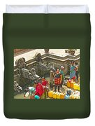 Women Get Bagmati River Holy Water From Ornate Fountains In Patan Durbar Square In Lalitpur-nepal  Duvet Cover