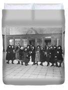 Women In A Bank Duvet Cover