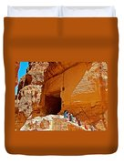 Women Leaving A Storage Place Near The Treasury In Petra-jordan Duvet Cover