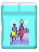 Women On Beach At Grenada Duvet Cover
