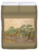 Women Picking Olives Duvet Cover
