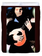 Women With Her Guitar Duvet Cover