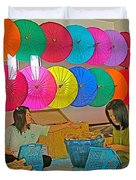 Women Working Together At Borsang Umbrella And Paper Factory In Chiang Mai-thailand Duvet Cover