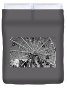 Wonder Wheel Of Coney Island In Black And White Duvet Cover