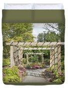 Wood Arbor Over Garden Path Duvet Cover