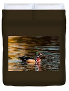 Wood Duck At Morning Duvet Cover