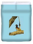 Wood Duck Drake In Tree Duvet Cover