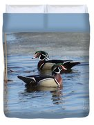 Wood Duck Drake Pair Duvet Cover