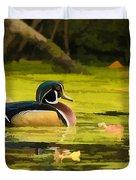 Wood Duck On Pond    Duvet Cover