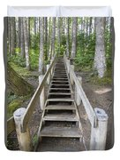 Wood Staircase In Hiking Trail Duvet Cover