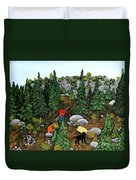 Woodcutters And Black Lab Duvet Cover