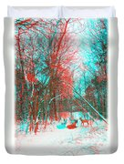 Wooded Path - Use Red And Cyan Filtered 3d Glasses Duvet Cover